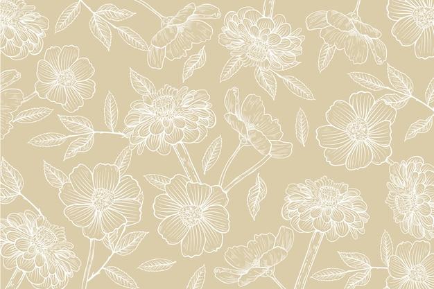 Fondo dibujado a mano realista floral