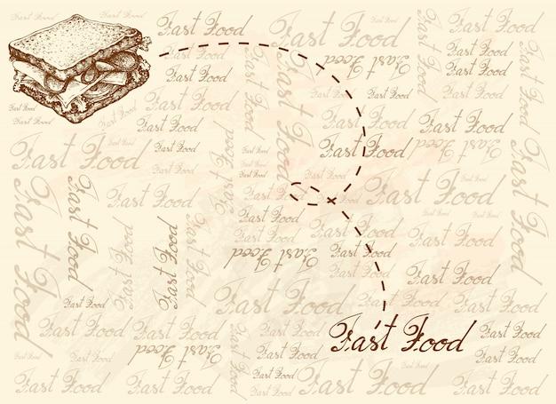 Fondo dibujado a mano de sándwich de jamón casero
