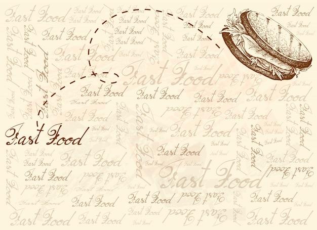 Fondo dibujado a mano de sándwich recién asado