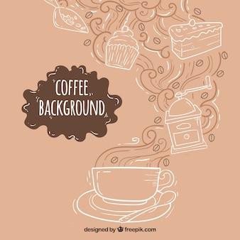 Fondo dibujado a mano con taza de café y dulces