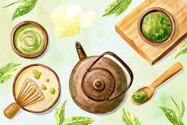 Fondo dibujado a mano de té matcha