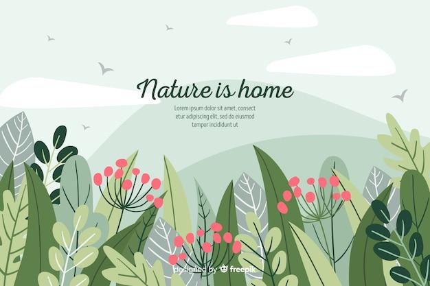 Fondo dibujado de naturaleza con frase