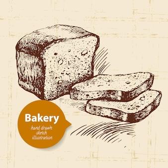 Fondo de dibujo de panadería. ilustración de dibujado a mano vintage
