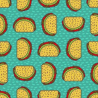 Fondo de dibujo de taco. patrón de comida rápida mexicana.