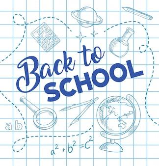Fondo de dibujo de tinta de pluma de regreso a la escuela