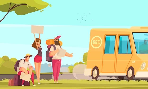 Fondo de dibujos animados con amigos haciendo autostop y deteniendo el autobús en la carretera