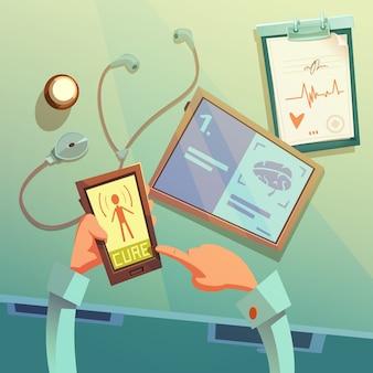 Fondo de dibujos animados de ayuda médica en línea