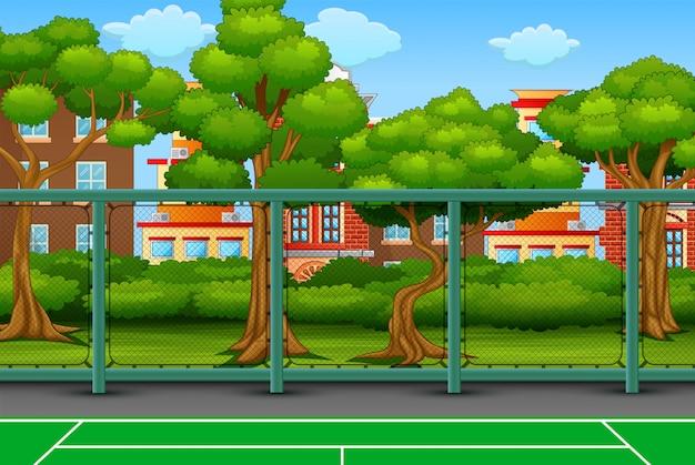 Fondo de dibujos animados con campo deportivo en la ciudad