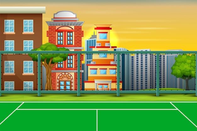 Fondo de dibujos animados con campo deportivo en el paisaje de la ciudad