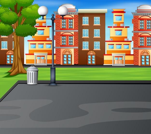 Fondo de dibujos animados con campo deportivo en el parque de la ciudad