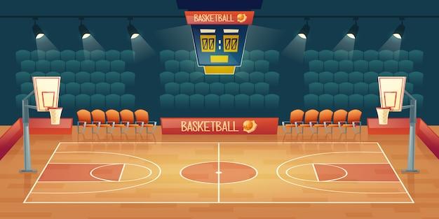 Fondo de dibujos animados de la cancha de baloncesto vacía. interior de pista deportiva con focos.