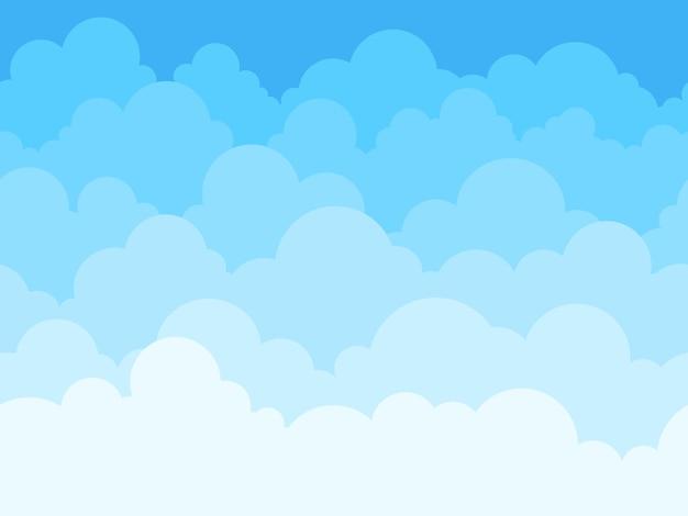 Fondo de dibujos animados de cielo de nubes. cielo azul con cartel de nubes blancas o volante, textura fluida de patrón de panorama con nubes