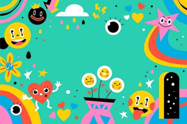 Fondo de dibujos animados coloridos de moda dibujados a mano