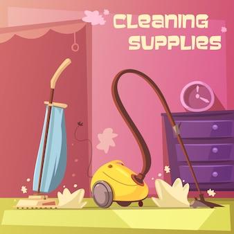 Fondo de dibujos animados de equipos de limpieza