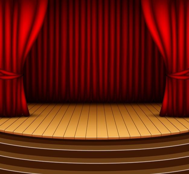 Fondo de dibujos animados etapa con cortinas rojas