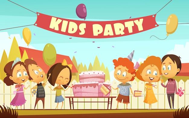 Fondo de dibujos animados de fiesta infantil con divertida compañía de niños.