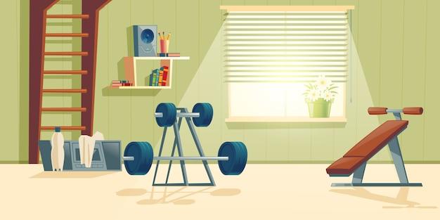 Fondo de dibujos animados de gimnasio en casa con ventana