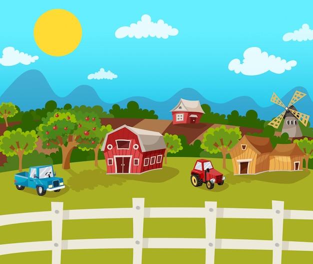 Fondo de dibujos animados de granja