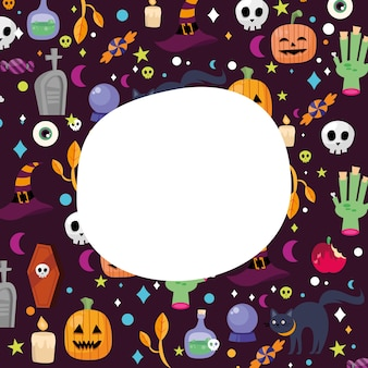 Fondo de dibujos animados de halloween con espacio para diseño de texto, tema de miedo