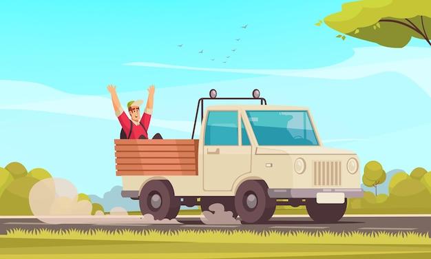 Fondo de dibujos animados con hombre feliz haciendo autostop en carrocería de camión