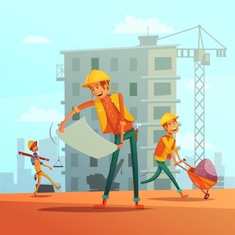 Fondo de dibujos animados de la industria de la construcción y construcción