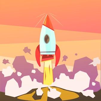 Fondo de dibujos animados de lanzamiento de cohetes y puesta en marcha