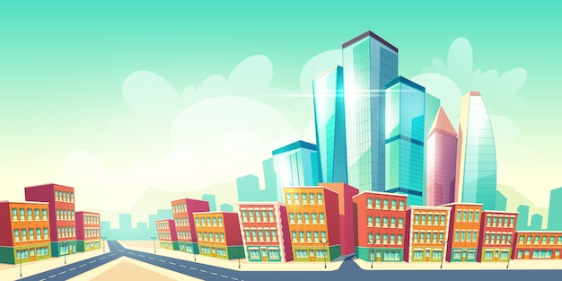 Fondo de dibujos animados de metrópolis futura creciente con carretera cerca de casas de distrito antiguo de ciudad, edificios de arquitectura retro