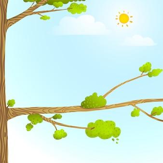 Fondo de dibujos animados de naturaleza colorida con árboles nubes de sol para diseño de niños