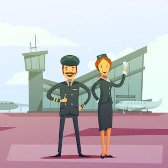 Fondo de dibujos animados de piloto y azafata