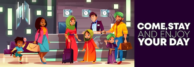 Fondo de dibujos animados de la recepción del hotel, folleto o cartel publicitario, pancarta con la familia árabe.
