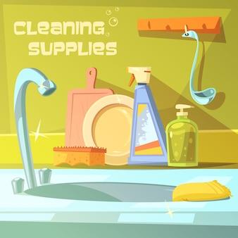 Fondo de dibujos animados de suministros de limpieza