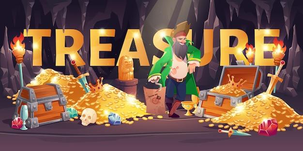 Fondo de dibujos animados de tesoro con pirata en oro de cueva