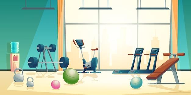 Fondo de dibujos animados vector de gimnasio con ventana grande