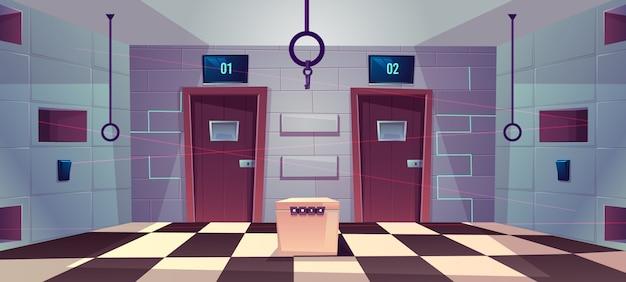 Fondo de dibujos animados vector de sala de búsqueda con puertas cerradas