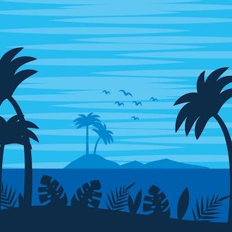 Fondo de dibujos animados de verano y playa paisaje