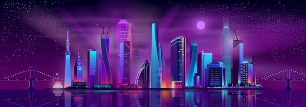 Fondo de dibujos animados de la vida nocturna de metrópolis