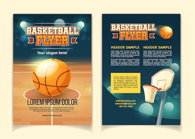 Fondo de dibujos animados, volantes para invitar en el juego de baloncesto.