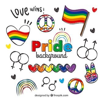 Fondo de dibujos del día del orgullo
