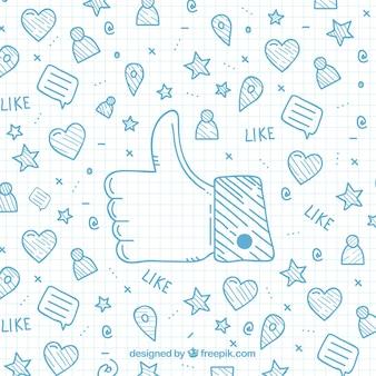 Fondo de dibujos con iconos de facebook