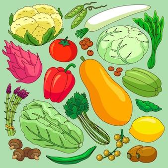 Fondo de diferentes frutas y verduras