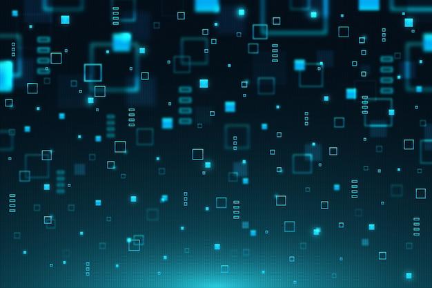 Fondo digital abstracto azul lluvia de píxeles