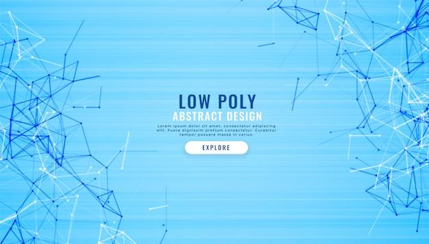 Fondo digital abstracto azul bajo poli líneas