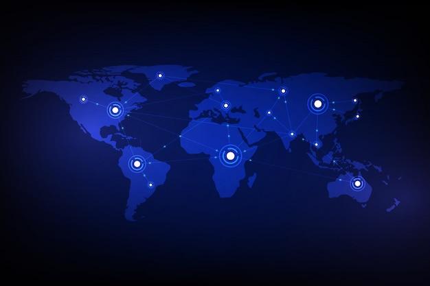 Fondo digital abstracto del concepto de la innovación de la tecnología del modelo de la textura del mapa del mundo