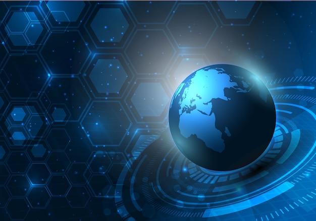 Fondo digital abstracto del concepto de la innovación de la tecnología del patrón de la textura del mapa del mundo