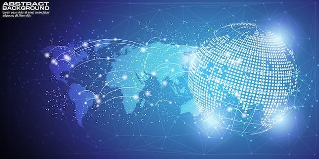 Fondo digital con conexión de red global de punto de mapa mundial