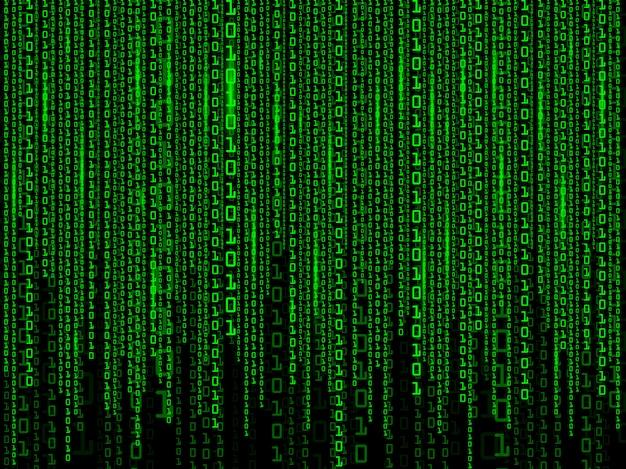 Fondo digital de matriz verde. código binario informático.