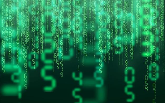 Fondo digital de matriz verde. tecnología de red digital de números cayendo. ciberespacio futurista. ilustración vectorial.