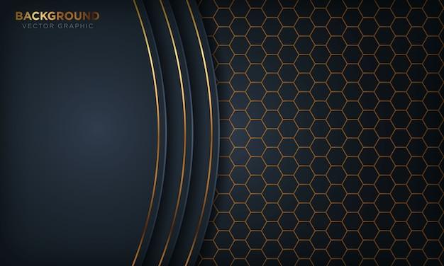 Fondo de dimensión de superposición azul oscuro de lujo con línea dorada en el patrón hexagonal.