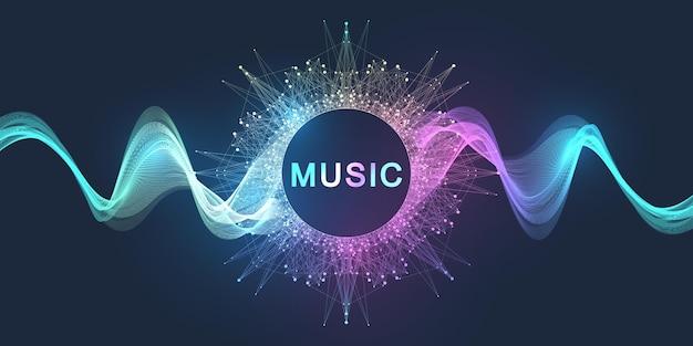 Fondo dinámico de puntos y líneas de onda de sonido de movimiento abstracto