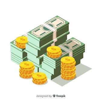 Fondo dinero en efectivo isométrico